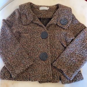 Willow S Brown/Multi Boucle Knit Lg Button Sweater